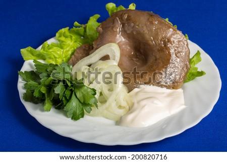 salty forest mushrooms (Lactarius deliciosus) - stock photo