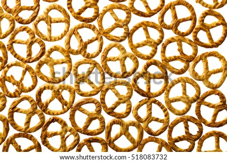 Salty pretzels isolated on white background.