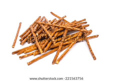 Salty Snack Sticks Isolated On White - stock photo