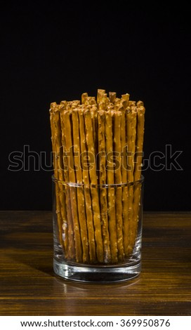 salty sticks - tasty appetizer for beer - stock photo