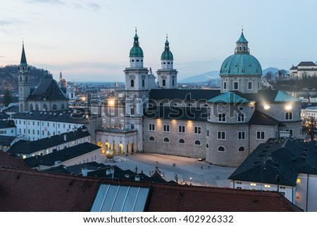 Saltzburg, Austria - January 21, 2015: A view of the famous Saltzburger Dom  the catholic cathedral in Satzburg in a winter evening.