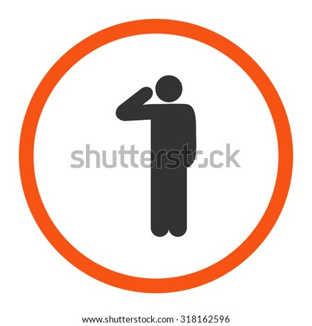Salute glyph icon. This rounded flat symbol is drawn with orange and gray colors on a white background. - stock photo