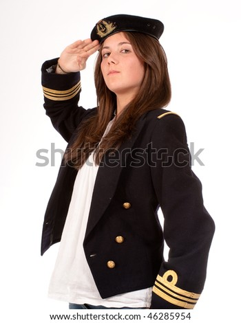 saluting girl with officer uniform and jeans - stock photo