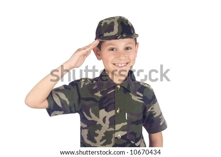 Saluting soldier isolated on white background - stock photo