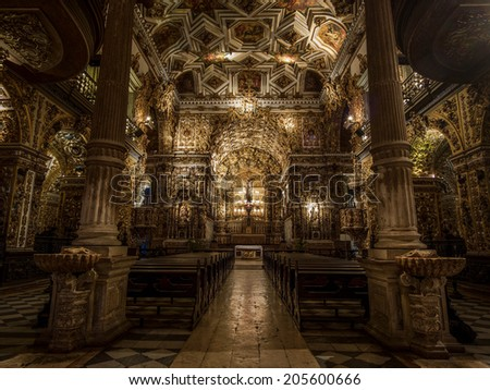 Salvador, Bahia, Brazil - July 9, 2014: The 17th Century Sao Francisco Church in Salvador da Bahia, Brazil, one of the finest examples of Baroque architecture and gilt woodwork in the world. - stock photo