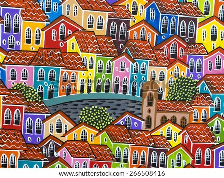 Salvador, Brazil - April 2: Typical colorful painting of the old colonial houses of Pelourinho in Salvador, Bahia, Brazil.  - stock photo