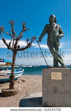 Salvador Dali statue in cadaques beach - Spain - stock photo