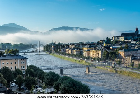 Salzach river on its way through Salzburg city, Austria - stock photo