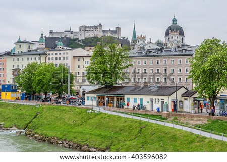 SALZBURG, AUSTRIA - APRIL 27, 2015: Beautiful cityscape of Salzburg. Salzburg is the birthplace of Wolfgang Amadeus Mozart. City was listed as a UNESCO World Heritage Site.