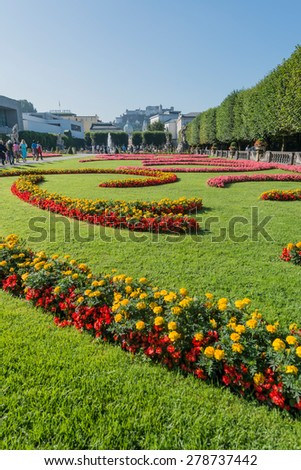 SALZBURG, AUSTRIA - AUGUST 01, 2014: Baroque Mirabell Garden (Mirabellgarten) located in Salzburg, Austria - stock photo