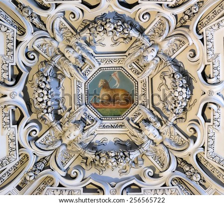 SALZBURG, AUSTRIA - DECEMBER 13: The Lamb of God, fragment of the dome of Salzburg Cathedral on December 13, 2014. Salzburg Cathedral is renowned for its harmonious Baroque architecture. - stock photo