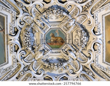 SALZBURG, AUSTRIA - DECEMBER 13: The Lamb og God, fragment of the dome of Salzburg Cathedral on December 13, 2014. Salzburg Cathedral is renowned for its harmonious Baroque architecture. - stock photo