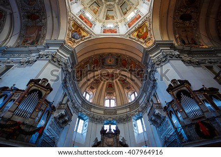 Salzburg, Austria - January 07 2016: Dome of Salzburg Cathedral Church, located on a Domeplatz in old town area of the city