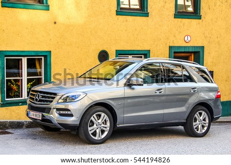 SALZBURG, AUSTRIA - JULY 28, 2014: Motor car Mercedes-Benz W166 M-class in the city street.