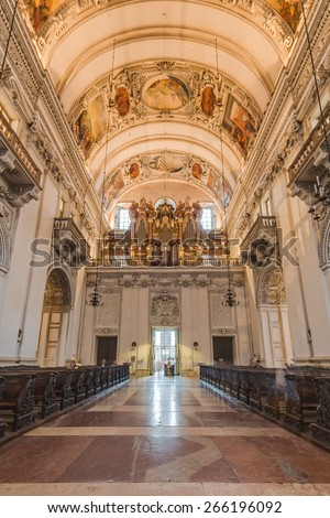 SALZBURG, AUSTRIA - JULY 31, 2014: The Salzburg Cathedral (Salzburger Dom) is a 17th century baroque cathedral dedicated to Saint Rupert in Salzburg, Austria - stock photo
