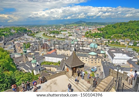 SALZBURG, AUSTRIA - JULY 30: View of Salzburg on July 30, 2013 in Salzburg, Austria. Salzburg is the birthplace of Wolfgang Amadeus Mozart. City was listed as a UNESCO World Heritage Site in 1997.