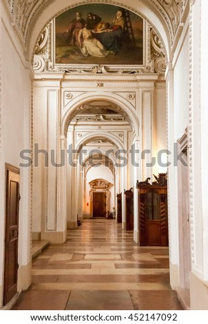SALZBURG, AUSTRIA -SEP 17:  Arches in the 774 era Salzburg Cathedral on Sep 17, 2008. Salzburg is internationally known as one of the best-preserved medieval city centers north of the Alps.