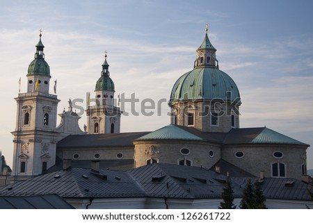Salzburg Cathedral (Salzburger Dom) in warm, dramatic light - stock photo