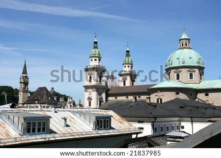 Salzburg skyline with cathedral on the right and Franciscan church on the left. Beautiful old town. - stock photo