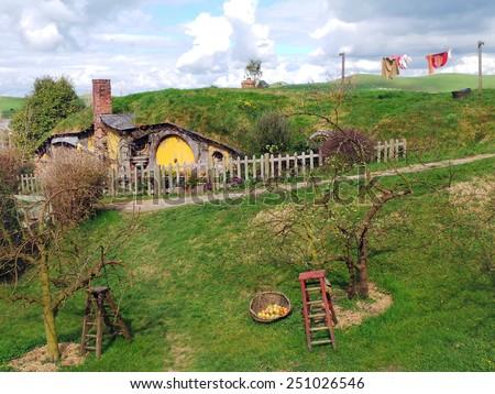 Sam Gamgee's Home, Hobbiton, New Zealand - stock photo