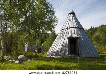 Samè hut in northern norway - stock photo
