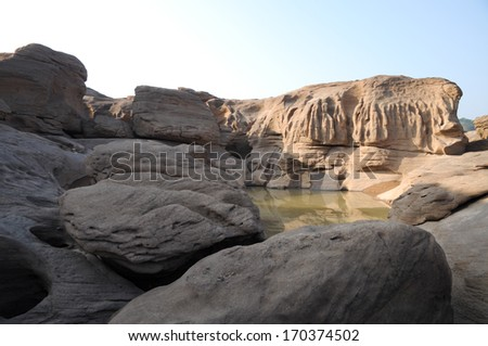 Sam pan bok,Stone in the shape of the natural beauty of the Mekong River in Thailand in Ubonratchathani