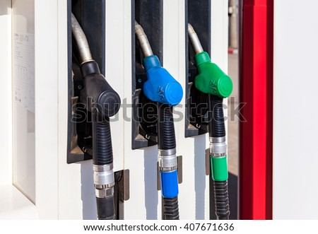 SAMARA, RUSSIA - APRIL 16, 2016: Filling the column with different fuels at the gas station Lukoil. Lukoil is one of the russian oil companies - stock photo