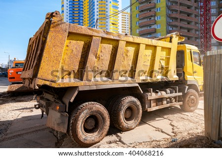 SAMARA, RUSSIA - APRIL 10, 2016: Heavy truck drives to the construction site - stock photo