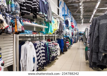 SAMARA, RUSSIA - AUGUST 29, 2014: Gloria Jeans department at the mall. Gloria Jeans is a Russian company specializing in the manufacture and trade of clothing, footwear and accessories - stock photo