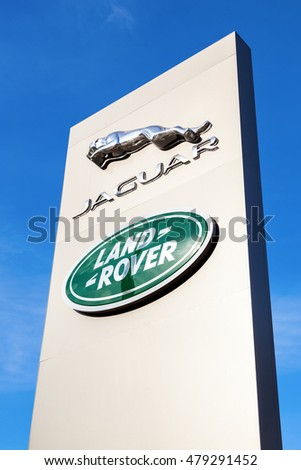 SAMARA, RUSSIA - AUGUST 27, 2016: Jaguar dealership sign. Jaguar is a brand of the British car manufacturer Jaguar Land Rover
