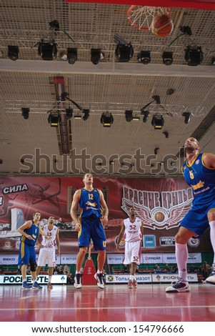SAMARA, RUSSIA - DECEMBER 17: Aaron Miles of BC Krasnye Krylia scored a goal from the free throw line in a game against BC Khimki on December 17, 2012 in Samara, Russia. - stock photo