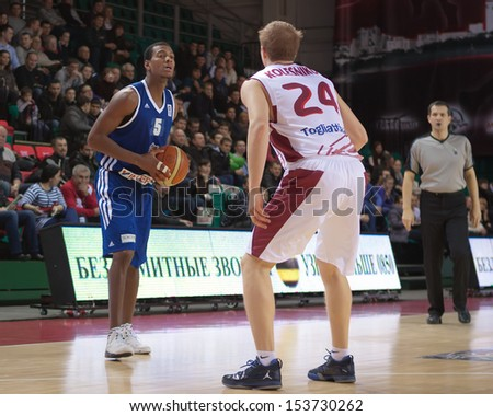 SAMARA, RUSSIA - DECEMBER 11: Jermaine Flowers of BC Joensuun Kataja, with ball, is on the attack during a BC Krasnye Krylia game on December 11, 2012 in Samara, Russia.