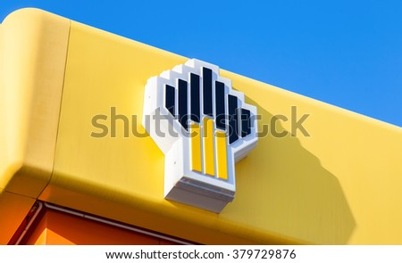 SAMARA, RUSSIA - FEBRUARY 20, 2016: The emblem of the oil company Rosneft on the gas station. Rosneft is one of the largest russian oil companies - stock photo