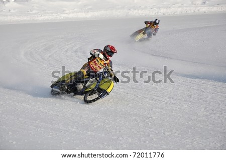 SAMARA, RUSSIA - FEBRUARY 19: Unidentified riders in action during training at Russia speedway championship on February 19, 2011 in Samara, Russia.