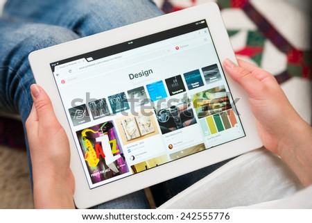 Samara, Russia - January 08, 2015: Close up of pinterest website on a ipad screen. pinterest announces a new application for mobile devices. Travel page - stock photo