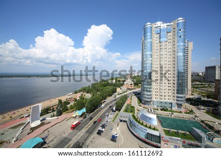 SAMARA, RUSSIA - JULY 7: View of the apartment complex Ladya, July 7, Samara. The complex is located in the heart of the city of Samara on the Volga river