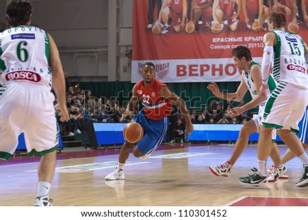 SAMARA, RUSSIA - MARCH 07: Aaron Marquez Miles of BC Krasnye Krylia, with ball, is on the attack during a BC Zalgiris game on March 07, 2012 in Samara, Russia.