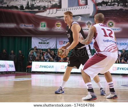 SAMARA, RUSSIA - MARCH 09: Gary Wilkinson of BC Kalev, with ball, is on the attack during a BC Krasnye Krylia game on March 09, 2013 in Samara, Russia.