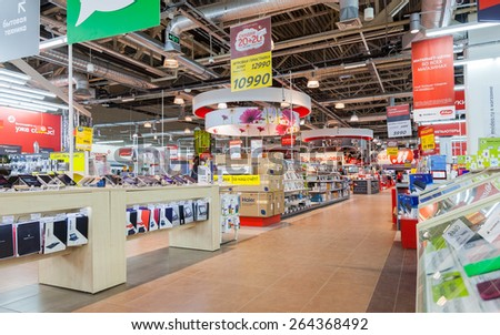 SAMARA, RUSSIA - MARCH 14, 2015: Interior of the electronics shop M-Video. Is the largest Russian consumer electronic retail chain - stock photo