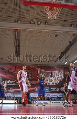 SAMARA, RUSSIA - MAY 20: Aaron Jackson of BC CSKA scored a goal from the free throw line in a game against BC Krasnye Krylia on May 20, 2013 in Samara, Russia. - stock photo