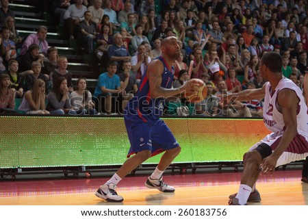 SAMARA, RUSSIA - MAY 20: Aaron Jackson of BC CSKA, with ball, is on the attack during a BC Krasnye Krylia game on May 20, 2013 in Samara, Russia. - stock photo