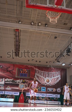 SAMARA, RUSSIA - MAY 03: Aaron Miles of BC Krasnye Krylia gets ready to throw from the free throw line in a game against BC Triumph on May 03, 2013 in Samara, Russia.