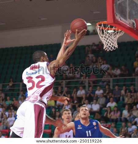 SAMARA, RUSSIA - MAY 11: Aaron Miles of BC Krasnye Krylia throws the ball in a basket during a BC Enisey game on May 11, 2013 in Samara, Russia. - stock photo