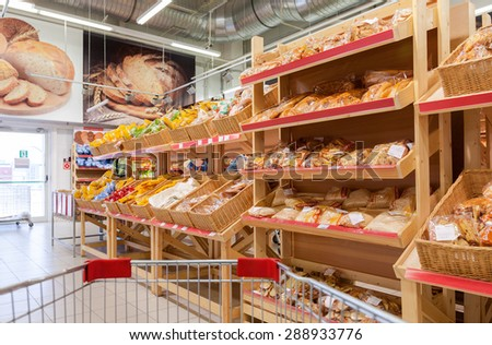 SAMARA, RUSSIA - MAY 31, 2015: Bakery products ready to sale in the new hypermarket Magnet. Russia's largest retailer - stock photo