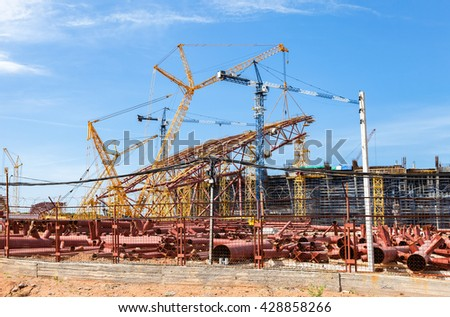 SAMARA, RUSSIA - MAY 30, 2016: Construction of a modern stadium for football matches Cosmos Arena for 45 thousand spectators