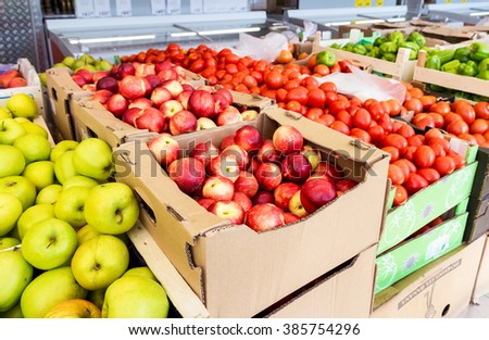 SAMARA, RUSSIA - MAY 24, 2015: Fresh fruits and vegetables ready for sale in the supermarket Pyaterochka. One of largest retailer in Russia - stock photo