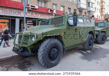 "SAMARA, RUSSIA - MAY 4, 2015: GAZ-233014 ""Tiger"". Preparation for Victory Parade in front of celebrate the 70th anniversary of Victory Day (WWII) - stock photo"