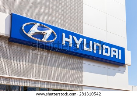SAMARA, RUSSIA - MAY 24, 2015: Hyundai dealership sign. Hyundai Motor Company is a South Korean multinational automotive manufacturer - stock photo