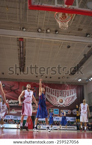 SAMARA, RUSSIA - MAY 20: Nenad Krstic of BC CSKA scored a goal from the free throw line in a game against BC Krasnye Krylia on May 20, 2013 in Samara, Russia. - stock photo