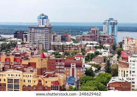 SAMARA, RUSSIA - MAY 30, 2014: View from height on city, bird view - stock photo